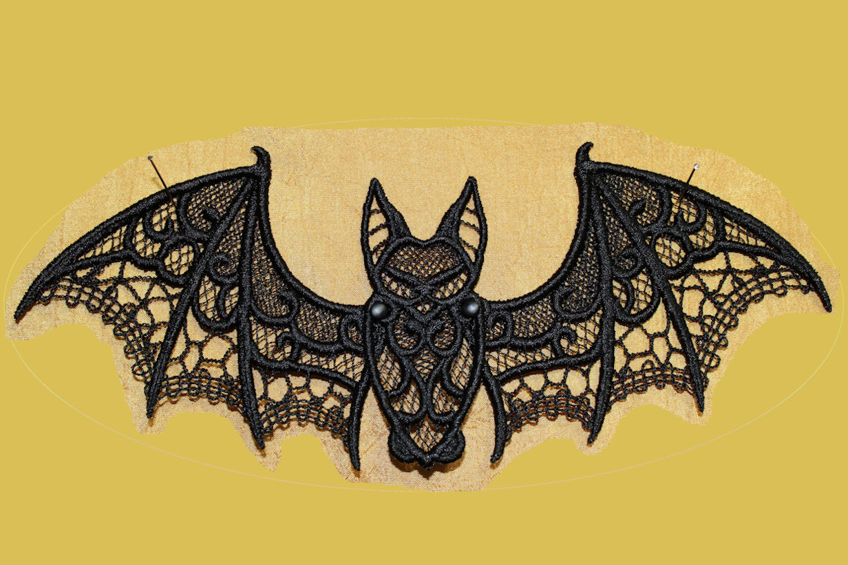 free standing lace articulated halloween bat a and s embroidery