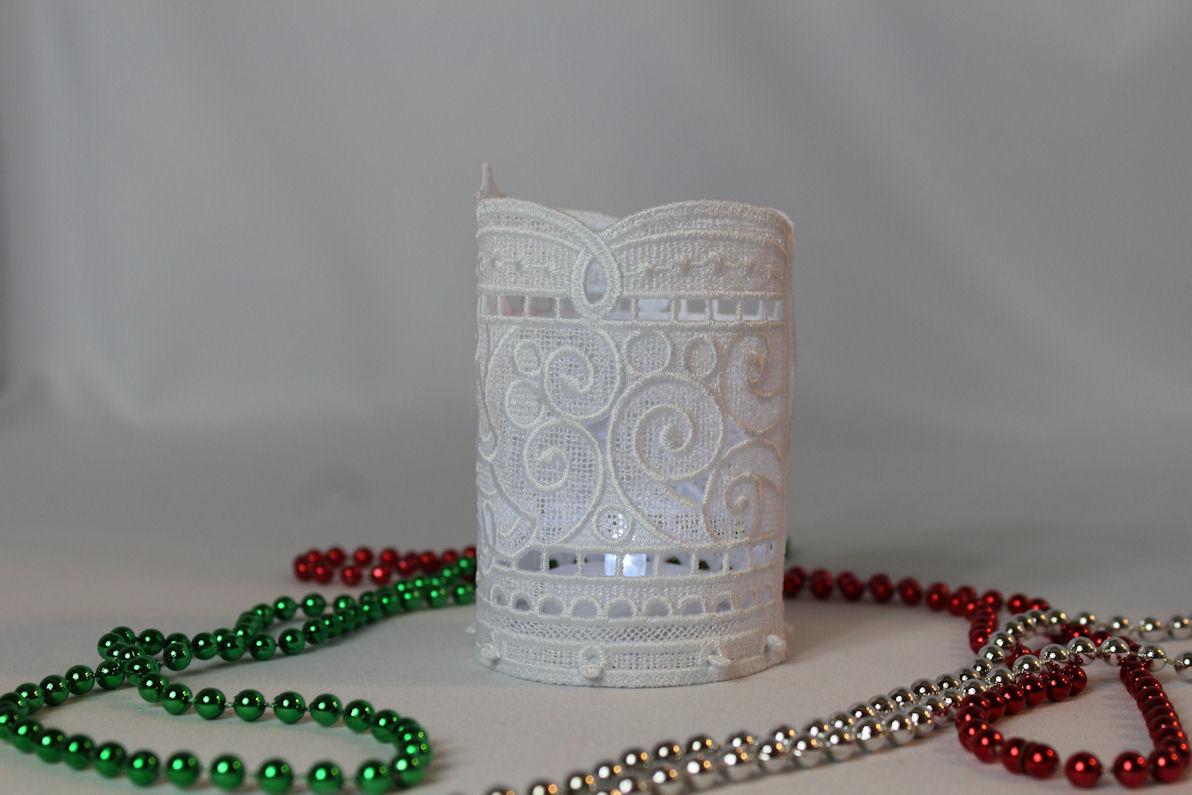 Christmas Tree Tea Light Holder Free Standing Lace